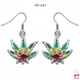 Boucles d'oreilles pendantes feuilles de cannabis rasta