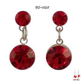 Boucles d'oreilles pendantes rondes rouges zirconium