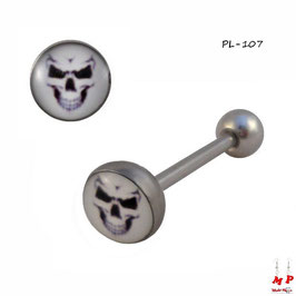 Piercing langue logo tête de mort blanche en acier chirurgical