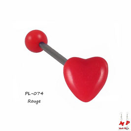 Piercing langue coeur rouge en acrylique