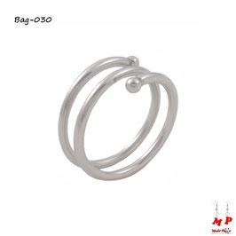 Bague anneau argenté original à double tour de doigt en acier chirurgical