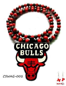 Collier taureau en bois Chicago Bulls