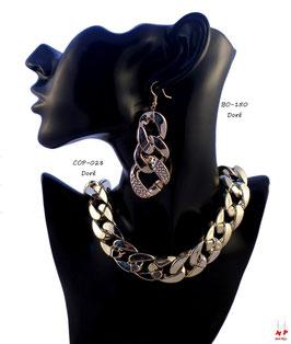 Parure boucles d'oreilles et collier à gros maillons