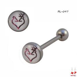 Piercing langue logo à coeur rose,noir et blanc en acier chirurgical