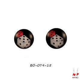 Boucles d'oreilles acier logo dés blanc et rouge