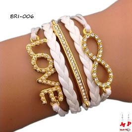 Bracelet infini blanc et doré multi-breloques love et barre en simili cuir