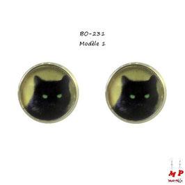 Boucles d'oreilles puces rondes à têtes de chats noirs 3 modèles