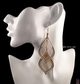 Boucles d'oreilles pendantes doubles gouttes d'eau dorées et fils de tissus blancs et dorés