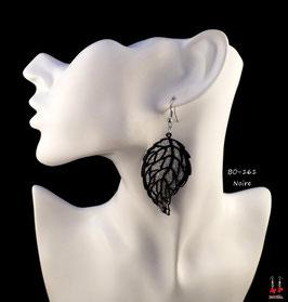 Boucles d'oreilles feuilles pendantes et paillettes argentées
