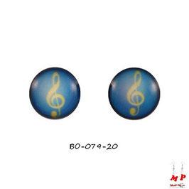 Boucles d'oreilles acier logo clé de sol jaune et fond bleu