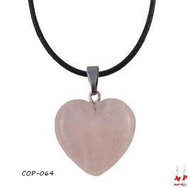 Collier à pendentif coeur en pierre de quartz rose