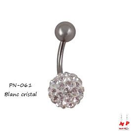 Piercing nombril shamballa blanc cristal