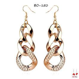 Boucles d'oreilles pendantes gros maillons dorés ou argentés