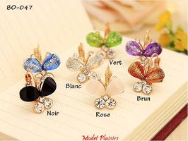 Boucles d'oreilles papillons pendants et strass