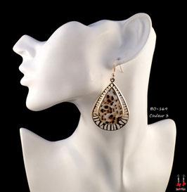 Boucles d'oreilles pendantes créoles dorées motifs léopards
