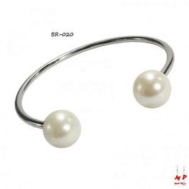 Bracelet argenté rond et perles nacrées