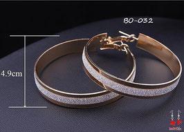 Boucles d'oreilles anneaux dorés et argentés