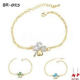 Bracelets trèfles à quatre feuilles dorés et cristal