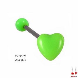 Piercing langue coeur vert fluo en acrylique