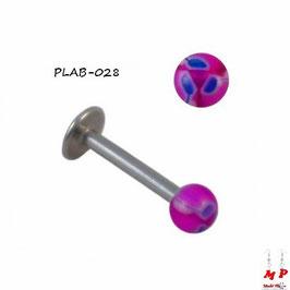 Piercing labret boule acrylique violette et feuilles bleues