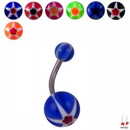 Piercings nombrils à boules acryliques étoiles et fleurs