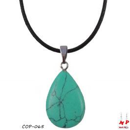 Collier à pendentif goutte d'eau en pierre turquoise
