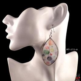 Boucles d'oreilles pendantes fils de tissu blancs et ronds de couleurs