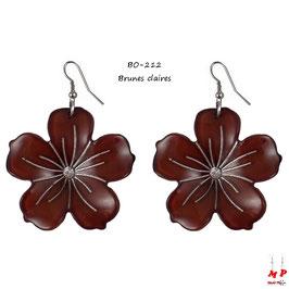 Boucles d'oreilles grosses fleurs pendantes