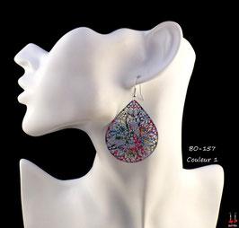 Boucles d'oreilles pendantes gouttes d'eau filigrane multi-couleurs
