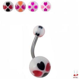 Piercing nombril à boules acryliques trèfles à quatre coeurs