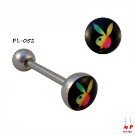 Piercing langue logo Playboy rasta