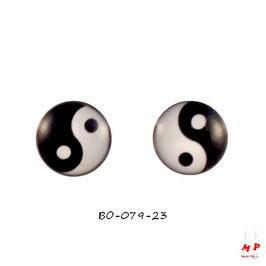 Boucles d'oreilles acier logo Yin Yang noir et blanc