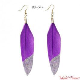 Boucles d'oreilles pendantes plumes violettes à paillettes argentées