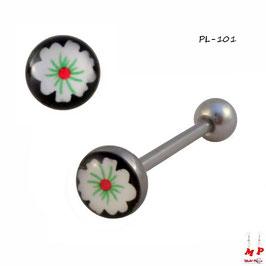 Piercing langue logo à fleur blanche et rouge en acier chirurgical