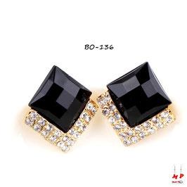 Boucles d'oreilles carrées noires et dorées à strass