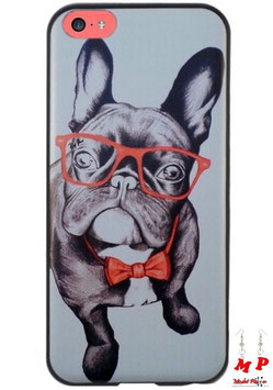 Coque iPhone 5c - Bouledogue à lunettes et noeud papillon rouges