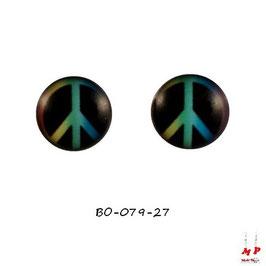 Boucles d'oreilles acier logo Peace and Love couleurs
