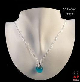 Collier à pendentif pomme opale bleue, rouge ou verte