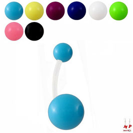 Piercing nombril bioflex à boules acryliques unicolores