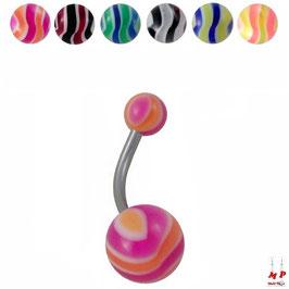 Piercing nombril à boules acryliques rayées