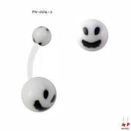Piercing nombril bioflex boules acryliques à smiley