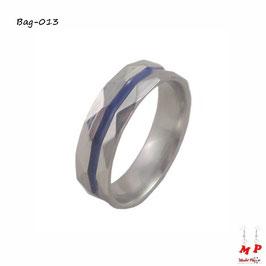 Bague anneau argenté à triangles et bande bleue en acier inoxydable