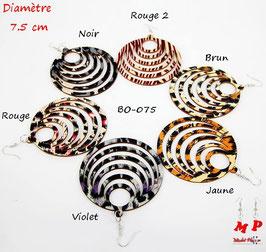 Boucles d'oreilles gros anneaux pendants zébrés en bois