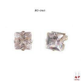 Boucles d'oreilles à strass carrés blanc cristal 6mm