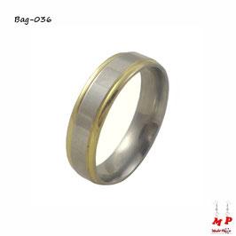 Bague anneau argenté à bandes dorées en acier chirurgical