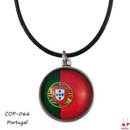 Collier à pendentif drapeau du Portugal, cabochon en verre