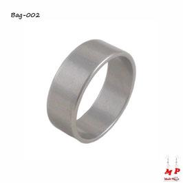 Bague anneau simple argenté en acier chirurgical mixte