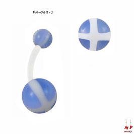 Piercing nombril bioflex boules acryliques à croix