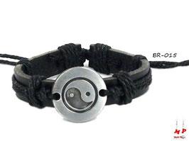 Bracelet noir Yin Yang
