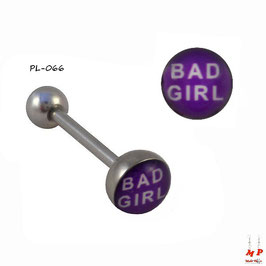 Piercing langue logo Bad girl